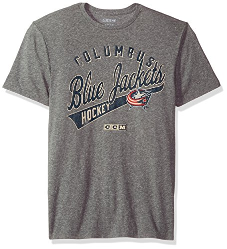 NHL Columbus Blue Jackets Open Season Tri-Blend Short Sleeve Tee, X-Large, Dark Grey Heathered (Jacket Rayon Blend)