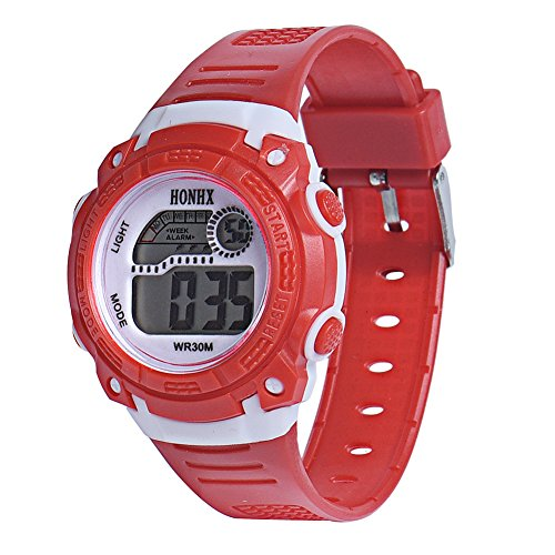 Demiawaking LED Digital Electronic Multifunction Child Boy Girl Student Rubber Band Sport Watches (Red)