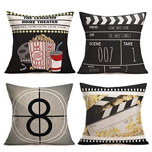 Royalours Pillow Covers Retro Movie Theater Cinema Patterns Cotton Linen Decorative Throw Pillow Covers Pillow Case Cushion Cover Body Pillowcovers 18 x 18 Inches Set of 4 (Cinema Popcorn) ()