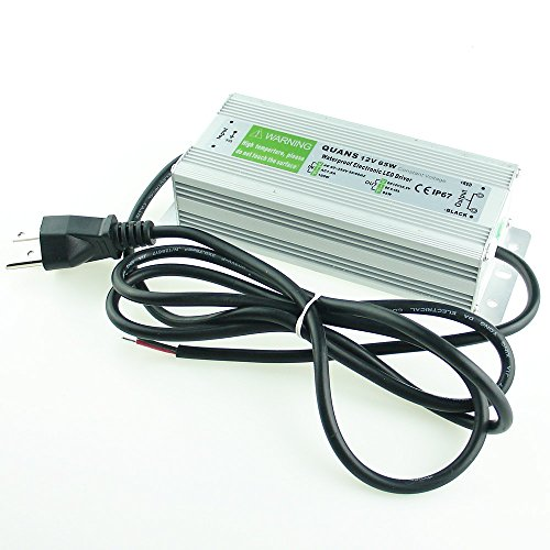 QUANS 65W Waterproof 110V AC to 12V DC 5.42A Power Supply Transformer LED Driver with 4.5ft US 3-Prong Cable Plug