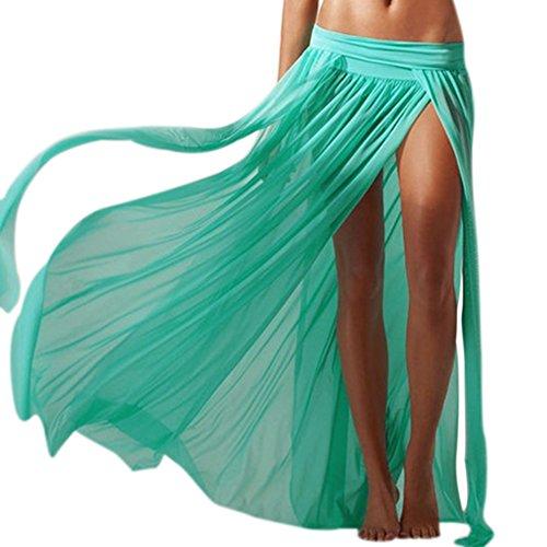 Chouette Femme Jupe de Fourche Maxi Longue en Maiile Voile de Plage Skirt Mince Extensible Vert