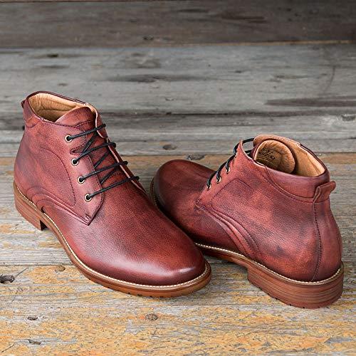 High Stivaletti Ruanyi grandi Size pelle vintage vera Red gli per autunno uomini EU 46 Red casual up taglie Cut scarpe inverno moda Color in Lace stile zqdqrFw
