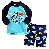 Baby Kid Boy Summer Long Sleeve Cartoon Fish Print Swimwear and Short Swimsuit 1-2 Years