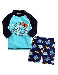 Baby Kid Boy Summer Long Sleeve Cartoon Fish Print Swimwear and Short Swimsuit