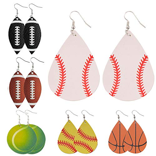 6 Pairs Baseball Faux Leather Earrings Football Basketball Tennis Dangle Drop Teardrop Earrings for Women