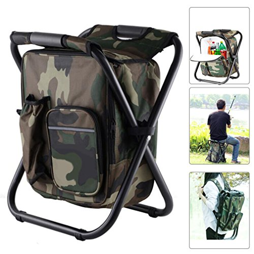 Taohua Garden Folding Camping Chair & Backpack with Cooler Insulated Picnic Bag Camping Stool Oxford Fabric Hiking Fishing Travel Beach BBQ Outdoor activies - Cooler Chair Insulated Folding