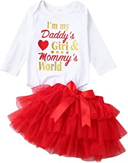 QinMM 2 Pezzi Pagliaccetto Baby Long Sleeve San Valentino Love Letters Haberdash + Short Skirt Set I'm My Daddy (3M-24M) Neonata Appena Nata del Bambino Outfits Set