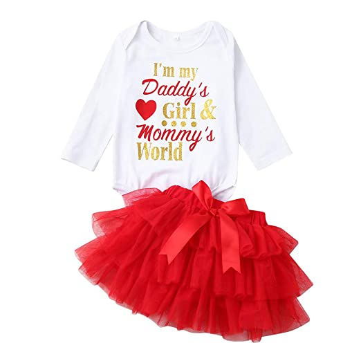 871032f8218 Wenini Infant Baby Girls Valentine Outfits Set Letter Romper Tops with Tutu  Skirts (6-