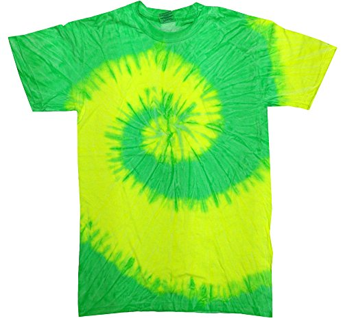 - Tie Dye T-shirts Yellow Lime Spiral Adult Sizes 100% Cotton (Large)