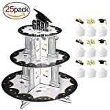 #9: Graduation Cupcake Holder& BONUS Picks Decoration Set(25Pack), Konsait 3 Tiered Grad Party Cupcake Holders Display Rack Stands Tower for Grad Party Decor Graduation Serving Dessert Favors Supplies
