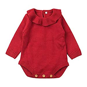 Baby Girl Romper Clothes Knitted Ruffles Long Sleeve Bodysuits Jumpsuit Toddler Kids Girl Romper Cotton Clothes (12-18 Months, Red)