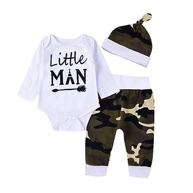 buy online 33b56 9f639 Baby Kleidung Set Neugeborene Jungen Mädchen Kurzarm Drucken Strampler  Overall Tops+Beinwärmer+Stirnband Romper Outfits Spielanzug Set Xinantime