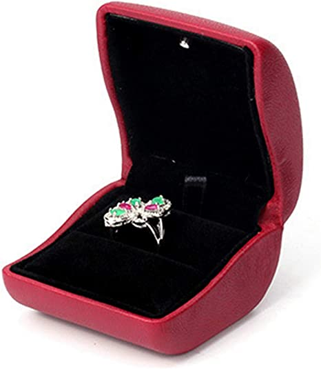 Lily Treacy PU Leather Red Ring Box case with LED light Proposal Engagement Gift
