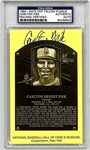 Signed Carlton Fisk Baseball - Hall of Fame Plaque - PSA/DNA Certified - Baseball Slabbed Autographed ()