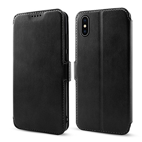 (iPhone 9 Plus Wallet Case, iPhone 9 Plus Leather Case, fitmore Premium PU Leather Women Folio Stand Bumper Back Case Compatible with iPhone 9 Plus - Black)