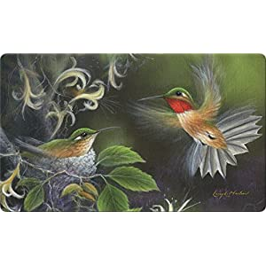 Toland Home Garden Rufous Hummingbird 18 x 30 Inch Decorative Floor Mat Flying Bird Tree Nest Doormat