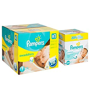 Pampers Swaddlers Diapers Size 1 Economy Pack Plus 216 Count and Pampers Sensitive Wipes, 7x Box, 448 Count Bundle