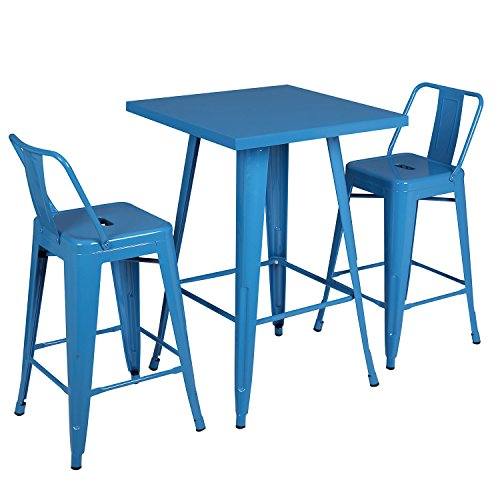 3 Piece Contemporary Style Metal Dining Table Set with 2 Chairs, Glossy Azure Blue