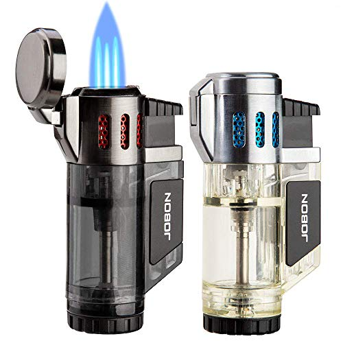 Torch Lighters 2 Pack Triple Jet Flame Butane Lighter 3 Flame Torch Lighter Fluid Refillable Jet Lighter-Butane Not Included (Black & Silver)