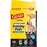 Glad for Pets Activated Carbon Dog Pee Pads | Best Puppy Pads For Absorbing Odor and Urine Quickly | Eliminates Urine Odor on Contact, 50 Count, Black