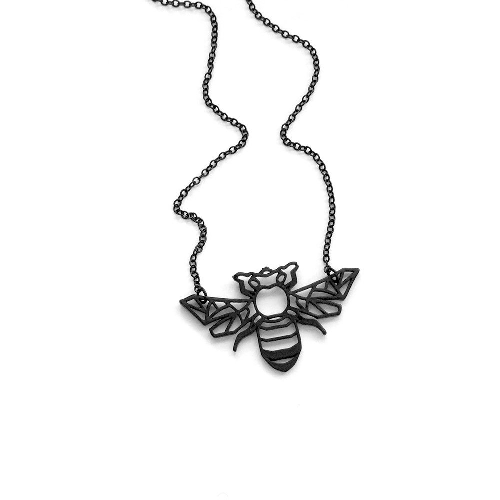 Black Bumble Bee >> Amazon Com Joji Boutique Matte Black Bumble Bee Outline Necklace