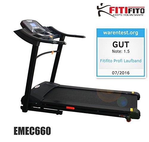 Fitifito 660B Profi Laufband 6PS 18km/h mit LED Bildschirm, Dämpfungssystem, 15 Trainingsmodulen inkl. HRC - Klappbar, Schwarz