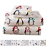 Stratton Collection Extra Soft Printed 100% Cotton Flannel Sheet Set. Warm, Cozy, Lightweight, Luxury Winter Bed Sheets. by Home Fashion Designs Brand. (King, Penguins)
