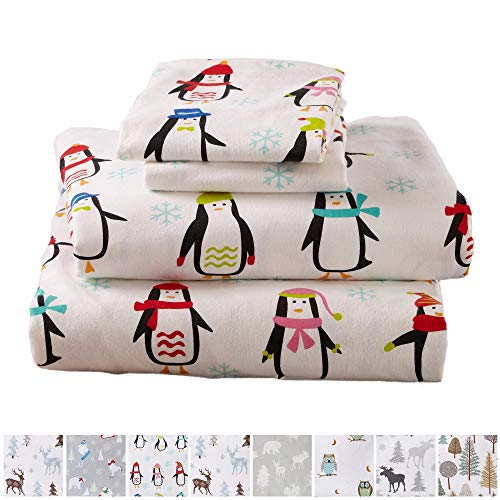 (Home Fashion Designs Stratton Collection Extra Soft Printed 100% Turkish Cotton Flannel Sheet Set. Warm, Cozy, Lightweight, Luxury Winter Bed Sheets Brand. (Twin, Penguins))