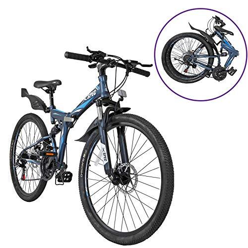 Xspec 26″ 21 Speed Folding Mountain Bike Bicycle Trail Commuter Gunmetal Blue- for Adults/Men & Women