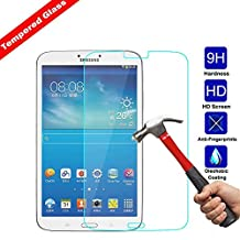 Kingsource Samsung Galaxy Tab 3 8.0 T310 Tempered Glass Screen Protector Film [2.5D Round Edge] [9H Hardness] [0.33MM Thin][Crystal Clear] [Scratch Resist] [No-Bubble][Lifetime Replacement Warranty]