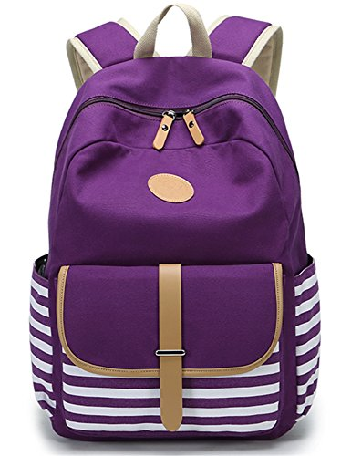 Leaper Thickened Canvas School Backpack Laptop Bag Shoulder Handbag (L,Purple)