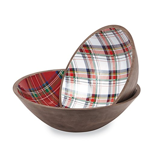 Holiday Gifts Bowls - Mud Pie 4604050 Tartan Wood Set of 2 Serving Bowls, Red/White/Brown