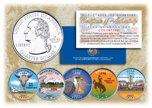 - 2007 US Statehood Quarters COLORIZED Legal Tender 5-Coin Complete Set w/Capsules by Merrick Mint