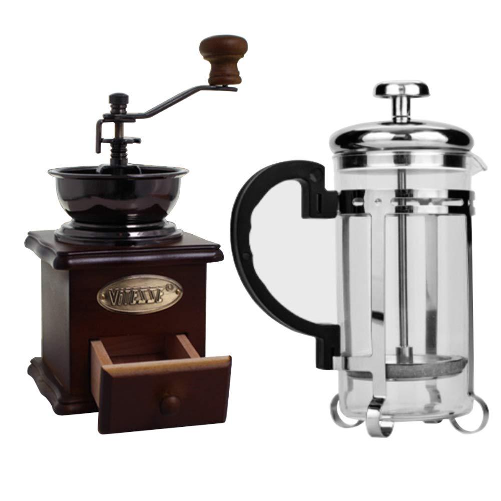 Gyswshh 350ml Coffee Tea Maker Filter Pot ,Coffee Mill Grinder,French Press with Manual random