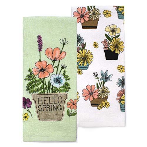Celebrate Kitchen Towels Hello Spring, Appliqued Flower Pot with Flowers, Set of 2, Cotton Dishtowels