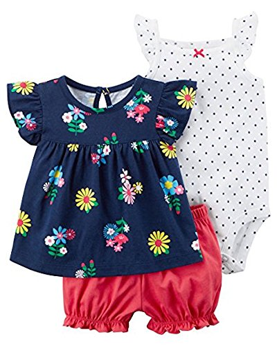 Carter's Baby Girls' 3 Piece Bodysuit and Diaper Cover Set 24 Months