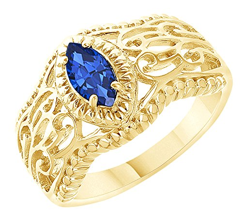 - AFFY Marquise Cut Simulated Blue Sapphire Solitaire Ring in 14k Yellow Gold Over Sterling Silver (0.57 Cttw) Size Ring - 7.5