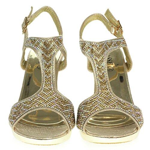 Sandales Fête Haut Mariage mariée De Cristal Taille de de Diamante Bal Or Talon Dames Femmes Soir Sangle Cheville des Chaussures qXCRxagw