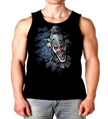 Cool Tank Top DJ Clown Headphones Liquid Blue Mens Muscle Shirt S-2XL (Black, XL) ()