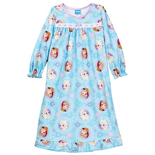 Disney Frozen Elsa Anna Girls Flannel Granny Gown Nightgown (8, Turquoise Blue)
