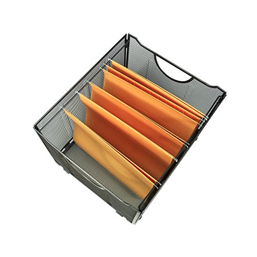 YIMU Collapsible Metal Mesh File Organizer Storage Box, Black, L15 W13 H10
