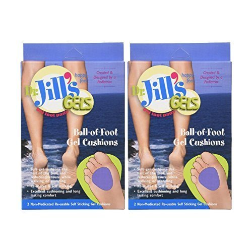 Dr. Jills Gel Ball of Foot Cushions (Self-Sticking and Re-Usable) (Pack of 2) by Dr. Jill's