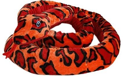 Serpent en peluche boa rouge/orange by Michel Toys