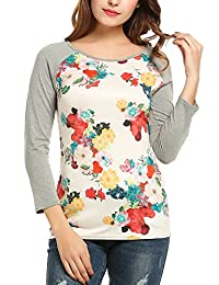 Meaneor Women Contrast Colors Raglan Sleeves Paneled Tee Shirt Chest Floral Tops