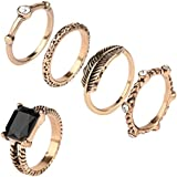 Set 5 pcs Vintage Finger Knuckle Band Midi Rings Stack Stacking Jewelry