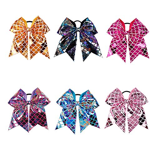 7 Mermaid Large Bows Ponytail Holder Jumbo Bows Large HairBow With Elastic Bands For School Cheerleader Kids Teens Childrens Pack of 6