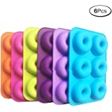 Silicone Donut Mould Cake Mold 6 Cavity Non Stick Baking Tray Heat Resistance for Cake Biscuit Bagels Pack of 4