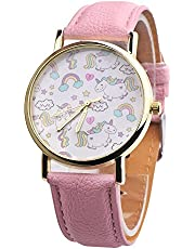 eUnique Rainbow Unicorn Watch with Pink Leather Strap - Very Elegant and Cute