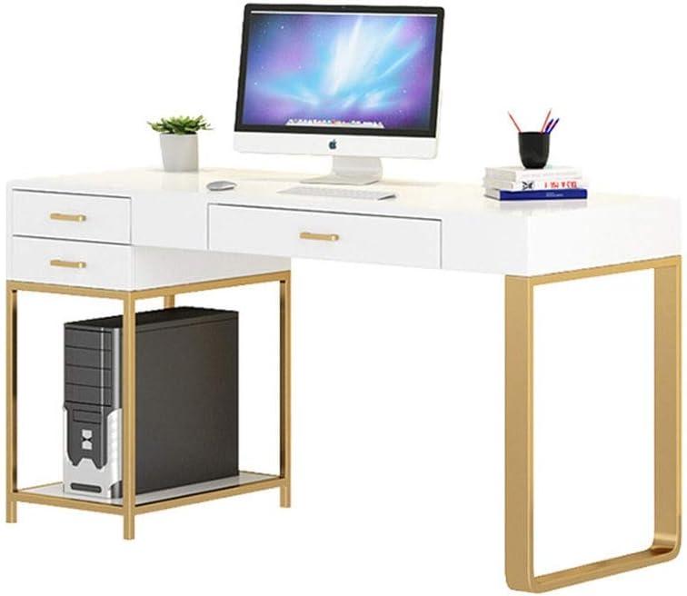 パソコンデスク 勉強机シンプルワークデスク 3つの記憶の引き出しのホームオフィスを書い近代金属や木材パソコンデスク (Color : White, Size : 160x55x75cm)