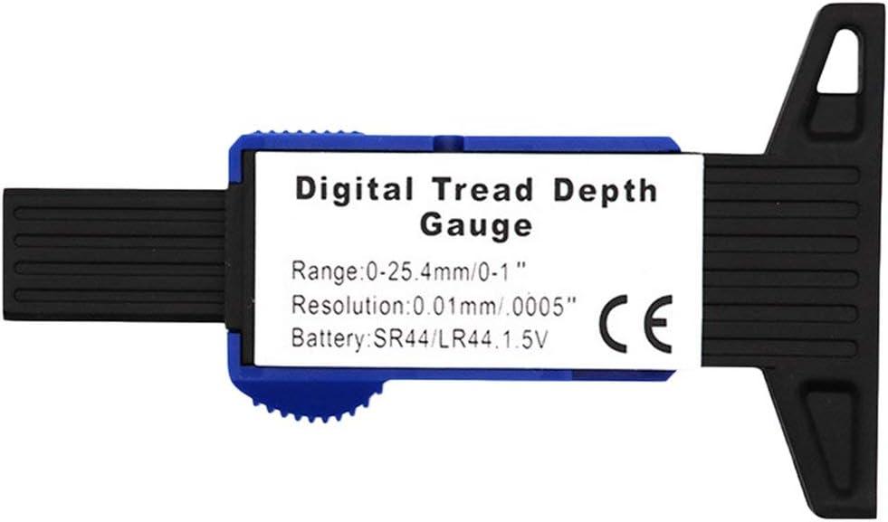 Tire Tread Tester LCD Display Digital Tyre Tire Tread Depth Gauge Brake Pad Tester Caliper 0-25mm Blue R TOOGOO